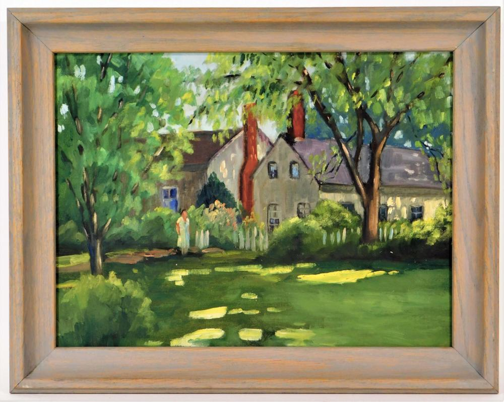 Helen Aubourg Impressionist Woman in Yard Painting