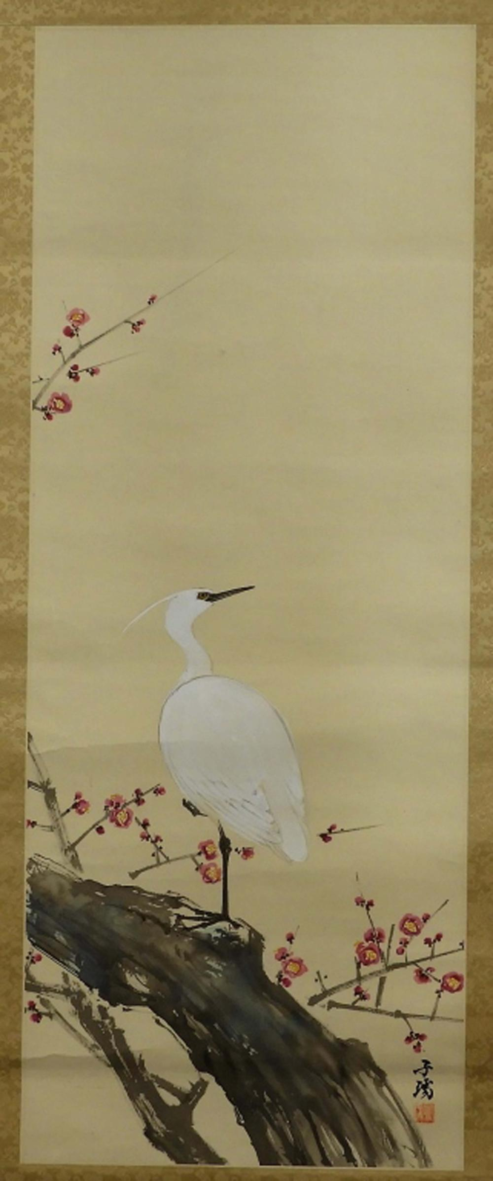 Japanese Scroll Painting of Egret Crane & Blossoms