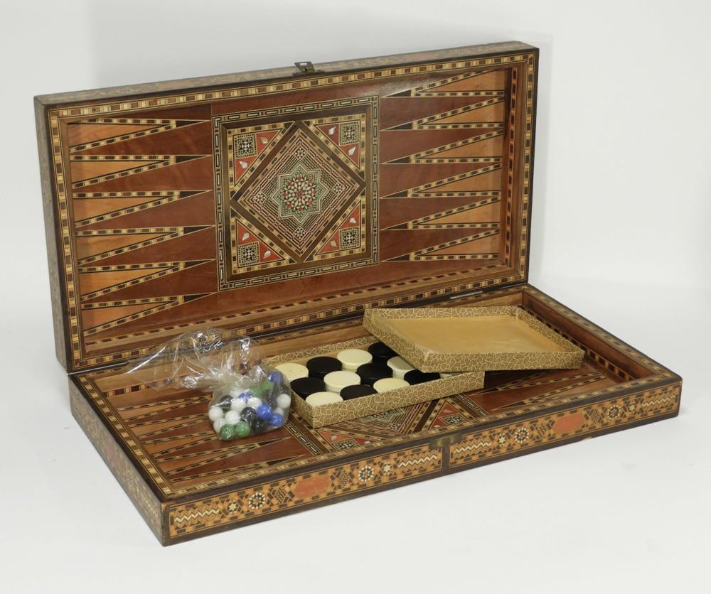 Anglo-Indian Inlaid Chess Checkers Backgammon Game