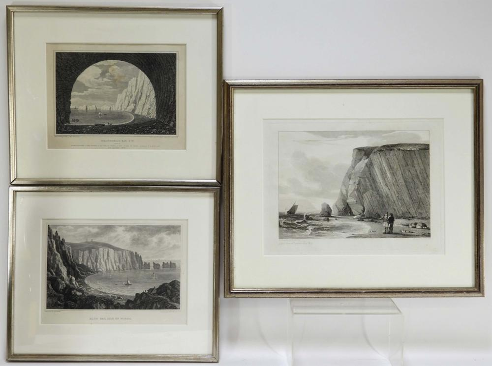 3PC 19C English Isle of Wight Engraving Group