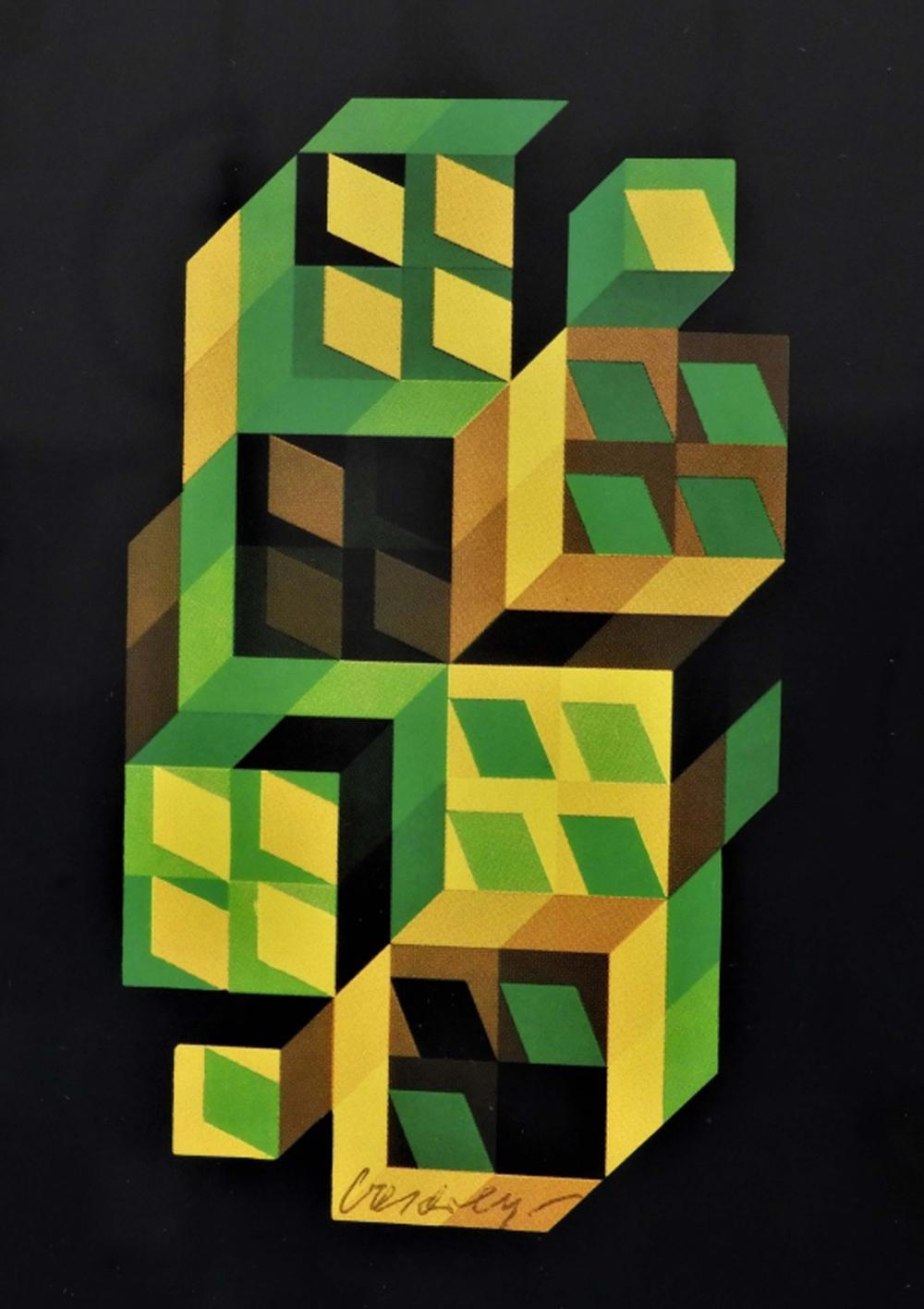 Victor Vasarely Pen Signed Op Art Lithograph