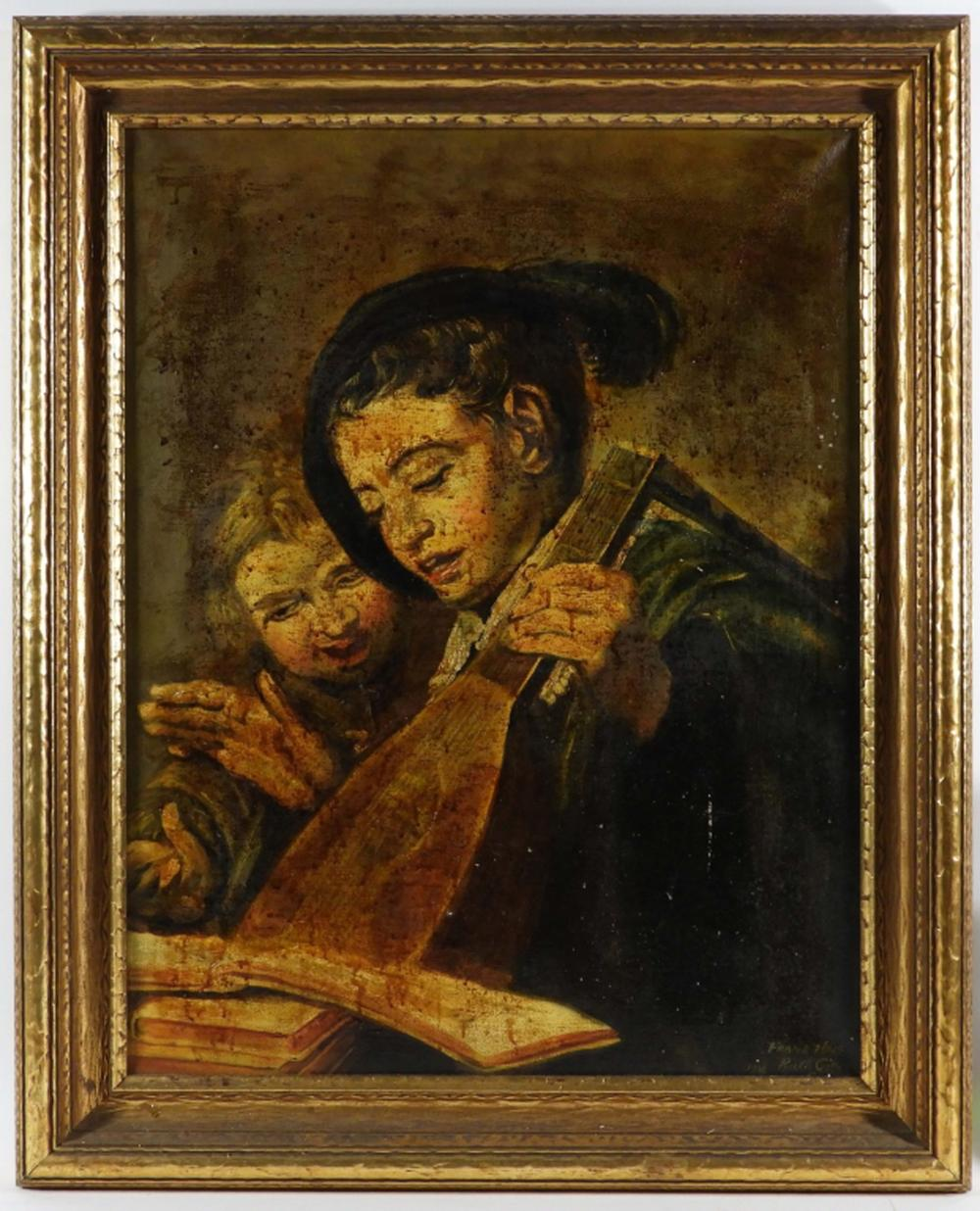 Old Master's Style Young Lute Player O/C Painting