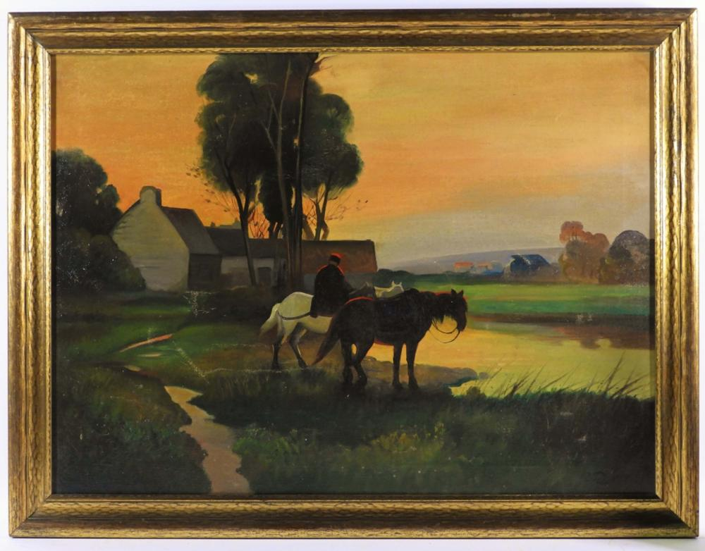 Signed O/C Sunset Horse Landscape Painting