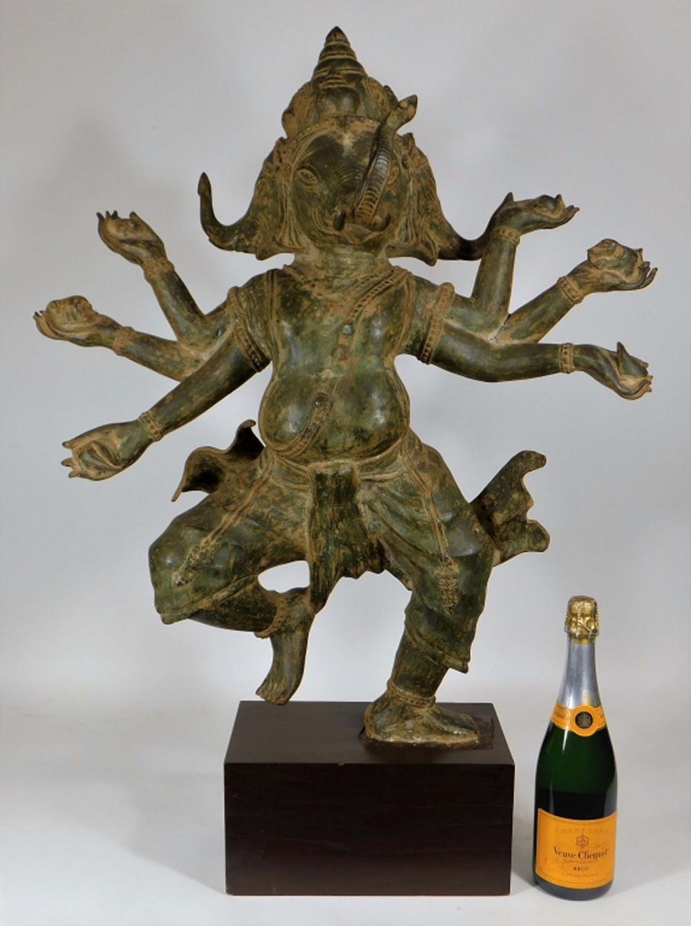 20C Indian Patinated Metal Sculpture of Ganesh