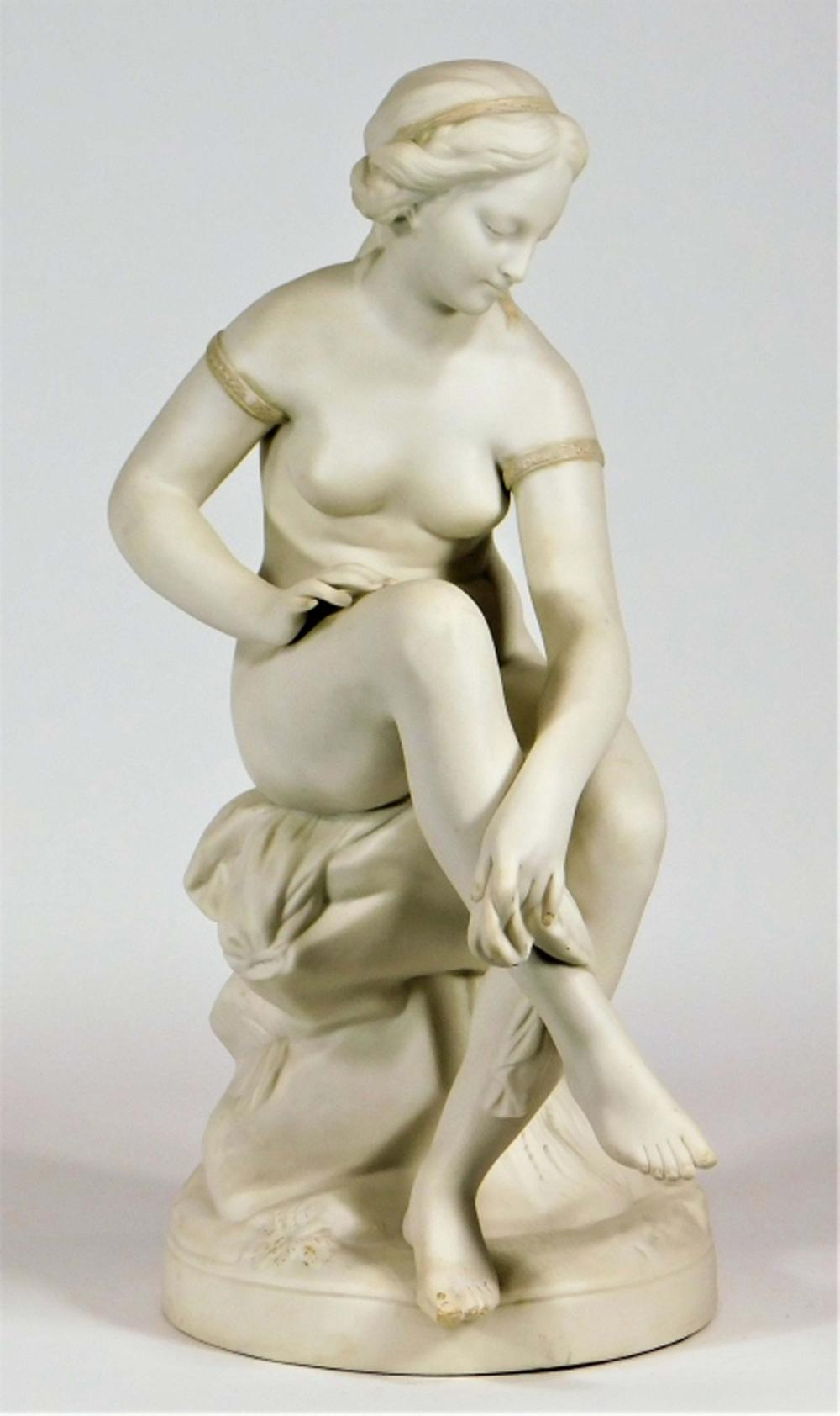 19C James & Thomas Bevington Parian Nude Woman