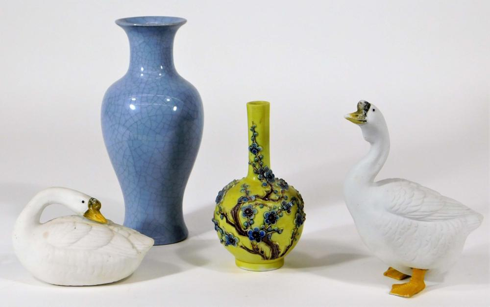 4PC Chinese 20C Porcelain Vases & Geese Grouping