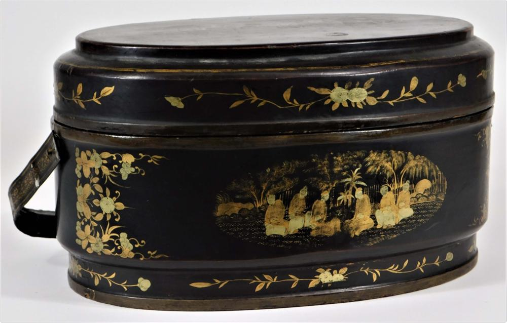 Chinese Qing Dynasty Gilt Lacquer Sewing Caddy Box
