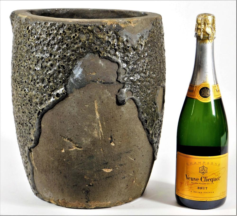 Modern Natzler Type Volcanic Glaze Pottery Crock