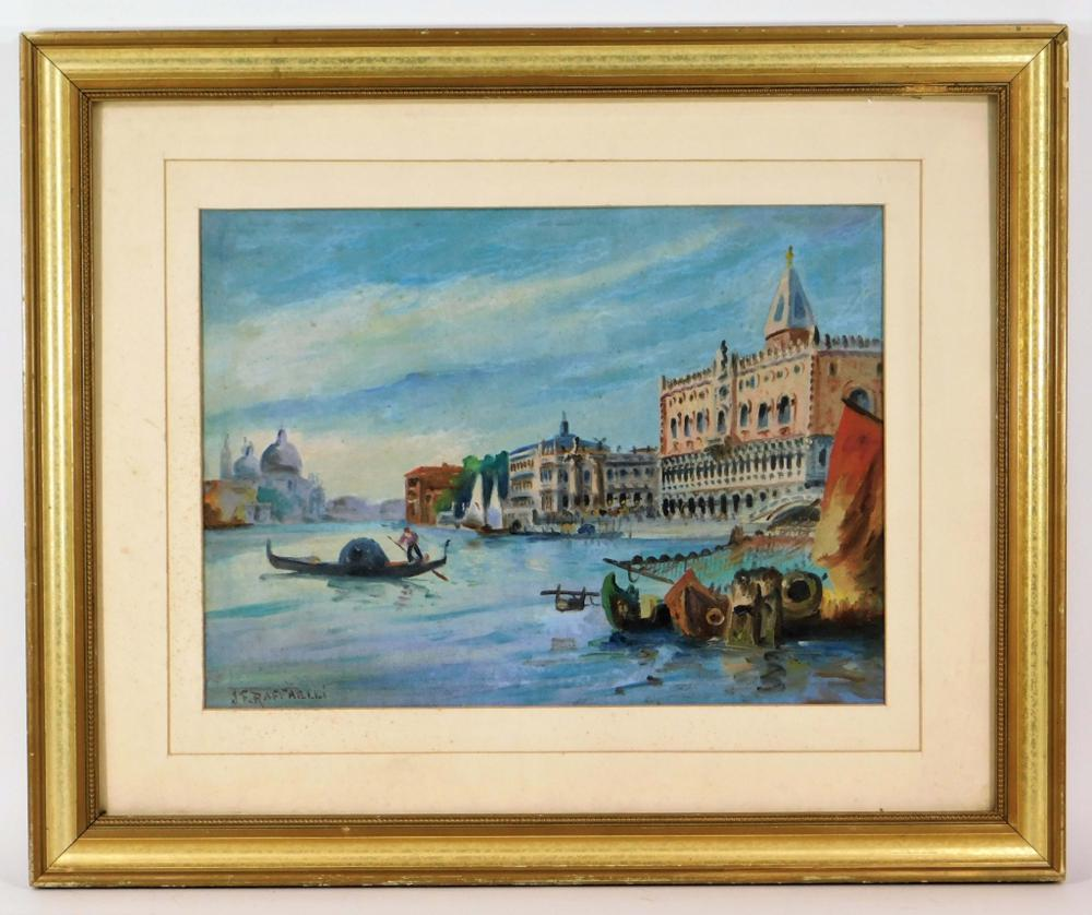 After J.F. Raffaelli O/C Venetian Harbor Painting