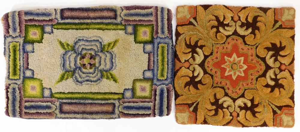 2PC 19C American Folk Art Wool Hooked Rug Mat