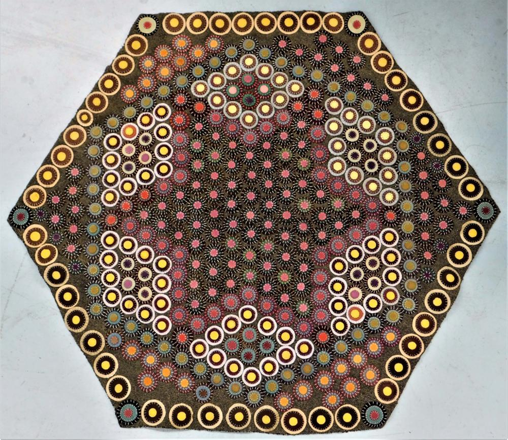 American Folk Art Stumpwork Crazy Quilt Carpet Rug