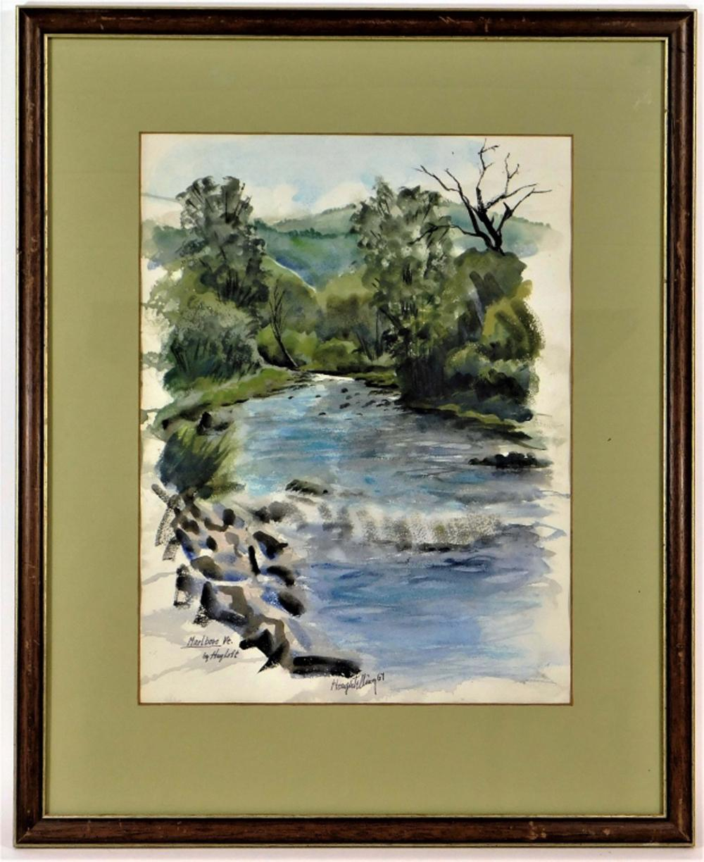 Ayres Houghtelling Marlboro Vermont WC Painting