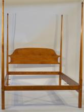 19C. American Tiger Maple Four Post Queen Bed