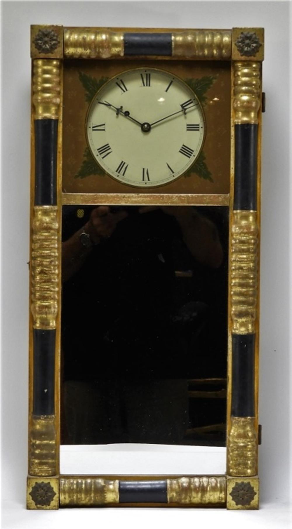 C 1830 American Federal Half Column Wall Clock