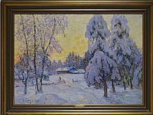 Anton Genberg Impressionist Winter Scene Painting