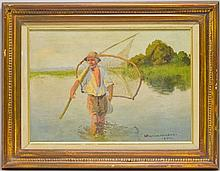 Viktor Koretsky Sporting Fisherman Oil Painting
