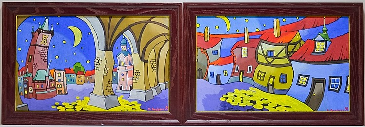 PR. Marina Gagloeva Naive Art Glazed Oil Painting