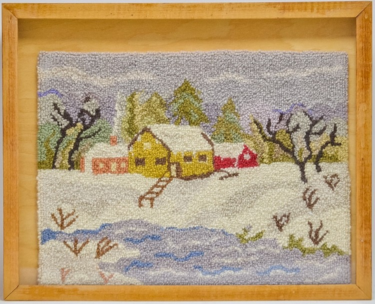 Grenfell Style Miniature Scenic Hooked Rug Mat