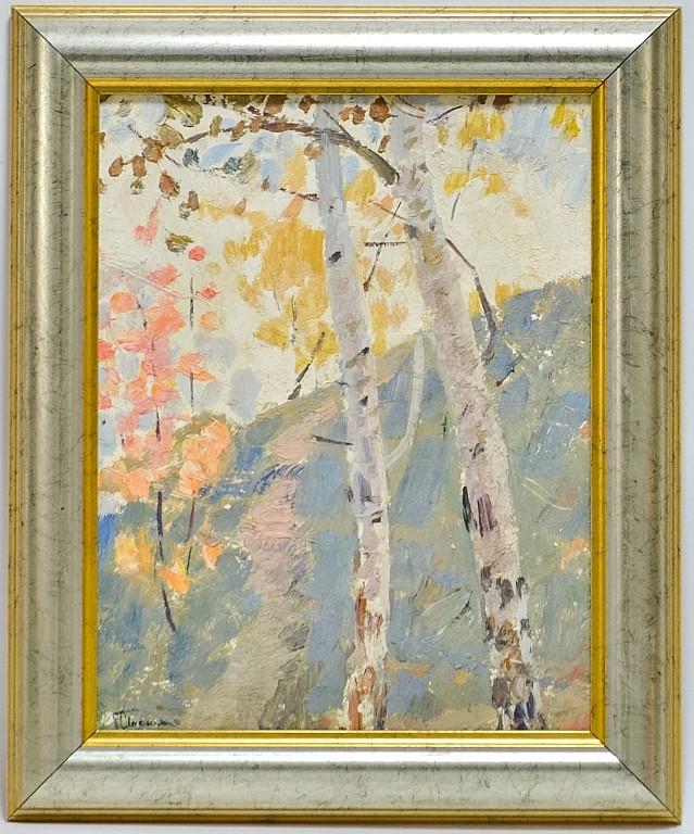 Grigoryi Shponko Russian Landscape Birch Painting