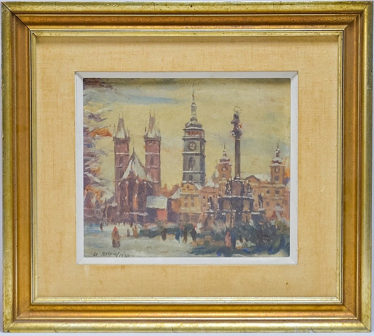 M. Doleral 1930 Czech Town Cityscape Painting