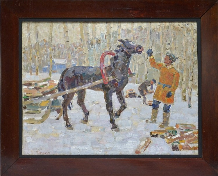 Grigoryi Shponko Horse Winter Scene Oil Painting