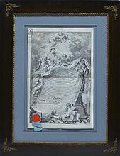 French 18C. Masonic Certificate Engraving