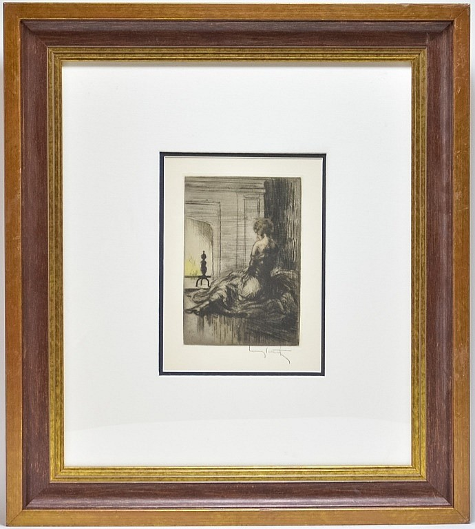Louis Icart By The Fireside Glass Of Wine Etching