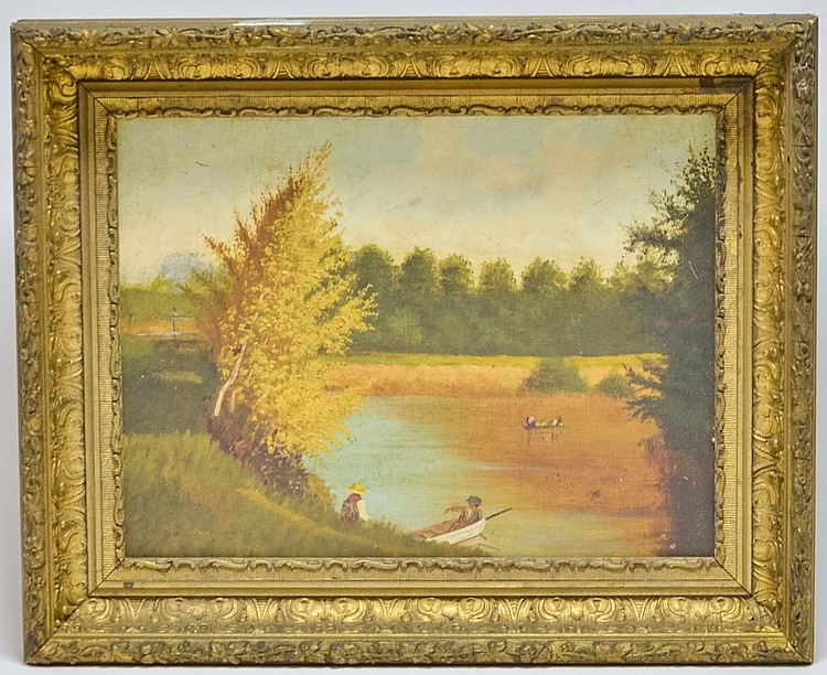New England Autumn River Folksy Landscape Painting