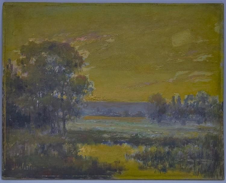 J. Huliston O/B Impressionist Landscape Painting