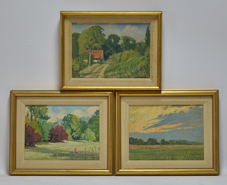 3 Gustave Hagstrom Diminutive Landscape Paintings