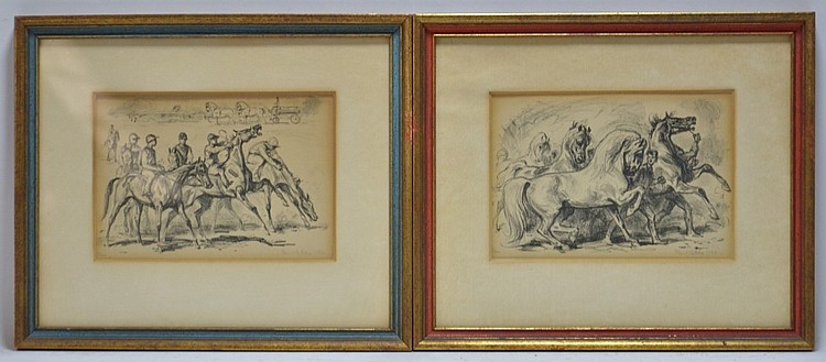 PR European Equestrian Pencil Signed Lithographs
