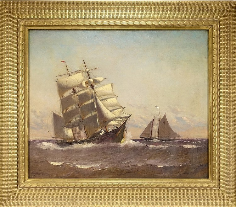 Marshall Johnson Jr. Sailing Barque Ship Painting