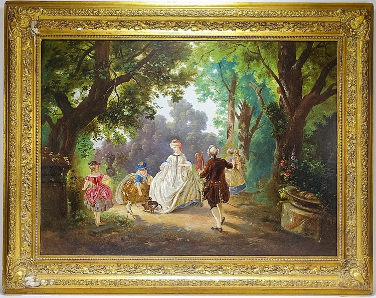 19C. European Bucolic Family & Dogs Genre Painting