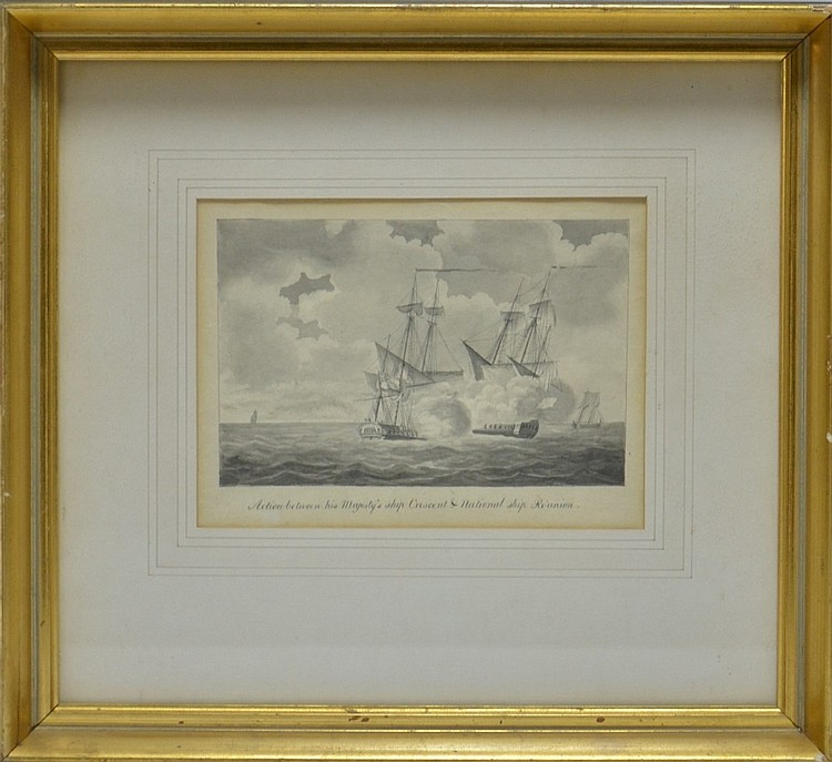 19C French English Ship Reunion Watercolor Drawing