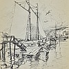 Emile Gruppe Massachusetts Drawing of Boats
