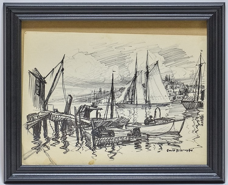 Emile Gruppe Massachusetts Boat Dock Drawing