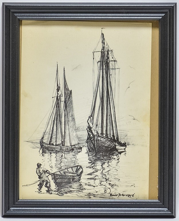 Emile Gruppe Charcoal Drawing of Sailboats