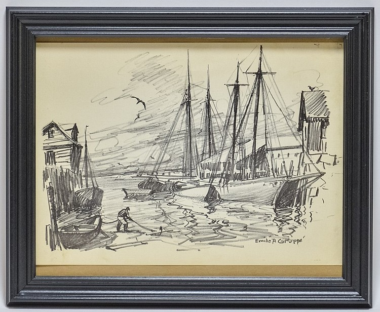 Emile Gruppe Drawing of Sailboats at Dock