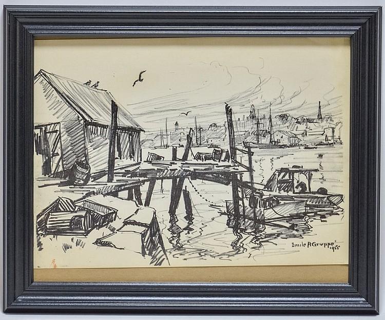 Emile Gruppe Drawing Dockside Harbor Seascape