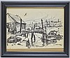 Emile Gruppe Drawing Dockside Harbor Seascape