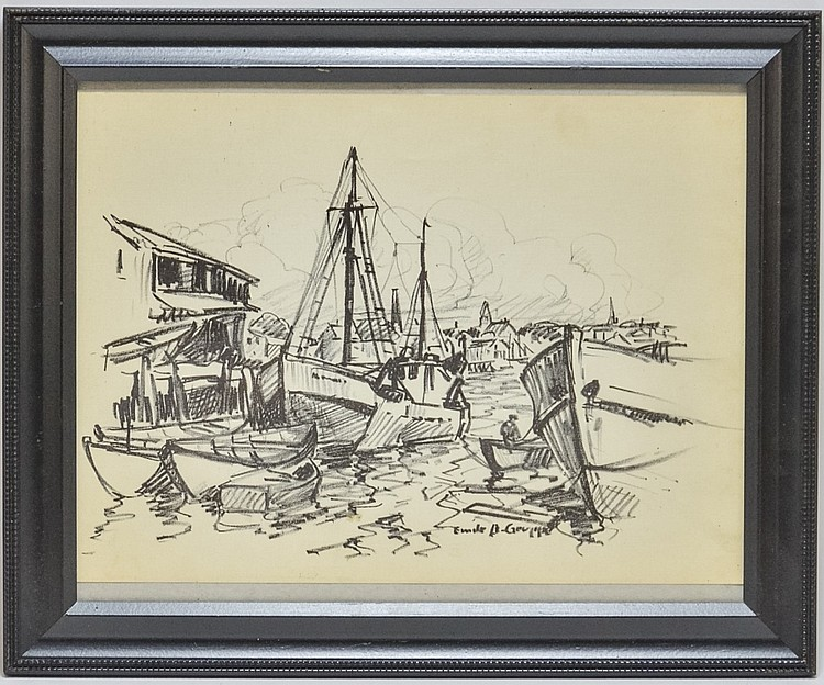 Emile Gruppe Drawing of Sailboats at The Dock