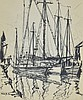 Emile Gruppe Drawing of Tall Sailboats at Dock