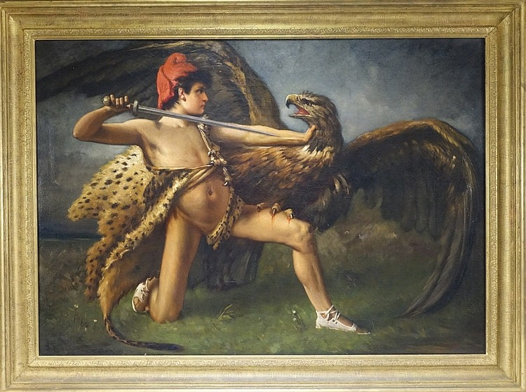 19C. Prometheus Slaying Zeus as Eagle O/C Painting