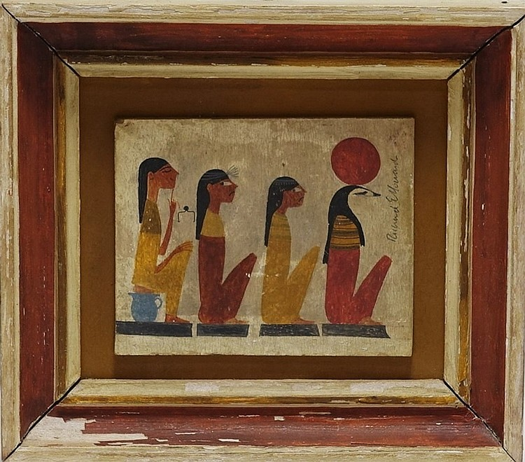 Richard Howard Egyptian Hieroglyph Whimsy Painting