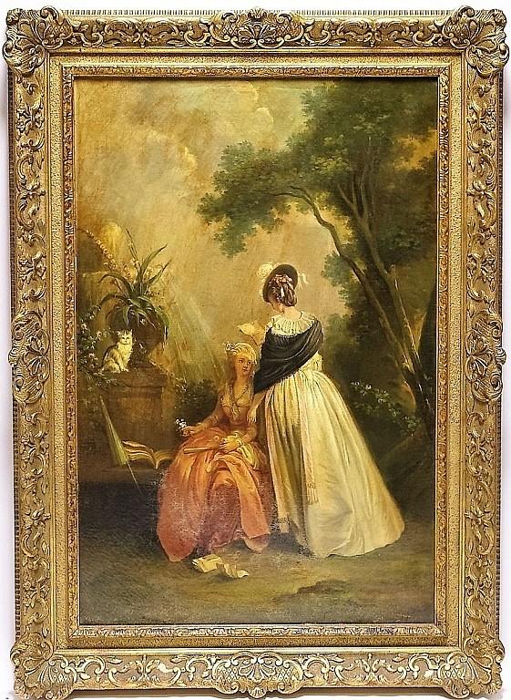 English School Romantic Women Love Letter Painting