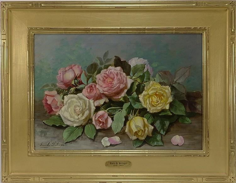 Emily Selinger Still Life of Roses O/C Painting