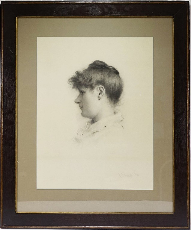 A.B Moore Signed Woman's Profile Charcoal Drawing