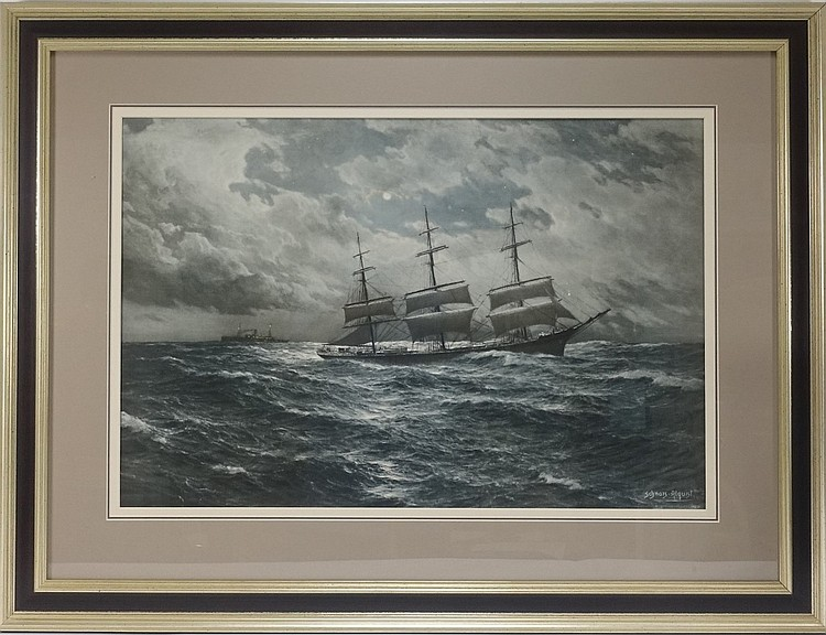 Hugo Schnars-Alquist Ships in Night Seascape Print