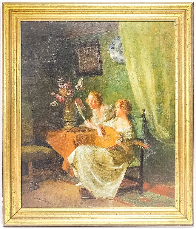 Carl Duxa Austrian Genre Scene Painting of Woman