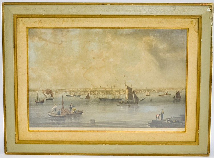 1840 Boston Massachusetts Harbor Aquatint Etching